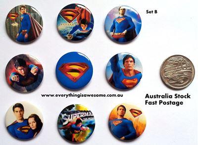Picture of Superheroes Superman Design B Button Pins Badges Set of 9 - Party Favours