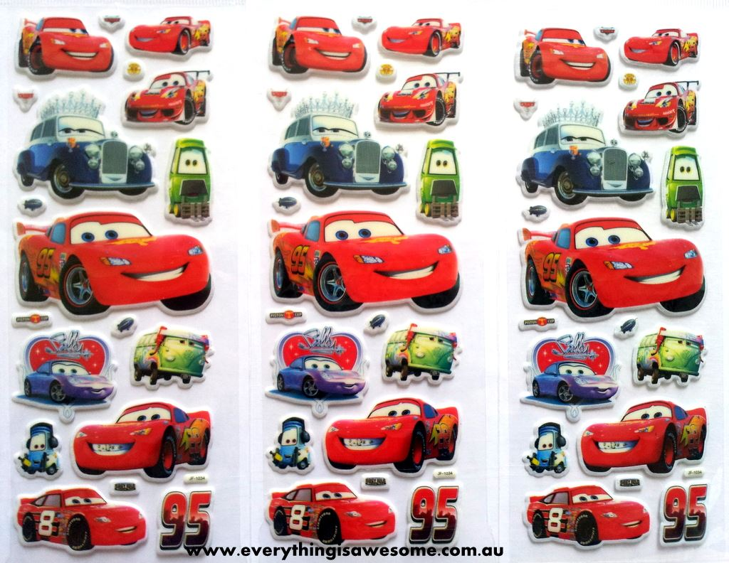 everything is awesome mixed design new disney cars puffy stickers. Black Bedroom Furniture Sets. Home Design Ideas