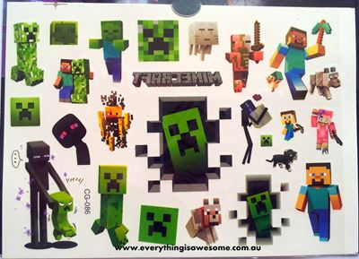 Picture of Minecraft Temporary Tattoo - 1 Sheet